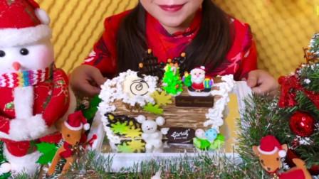 小姐姐吃流行的圣诞蛋糕, 都不舍得吃了, 绝对能打动少女心的甜点!