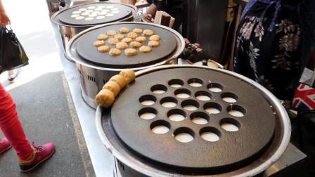 韩国街边小吃:3000元15个的豆沙馅菊花面包,便宜又好吃