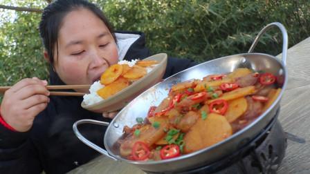 胖妹改吃素了?干锅土豆片香辣爽口,好吃又下饭,1人1锅刚刚好