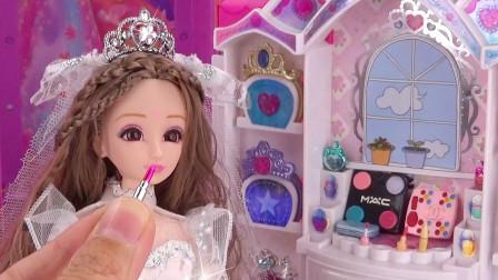 芭比剧场:爱心公主结婚当新娘,早起洗刷、化妆、换婚纱