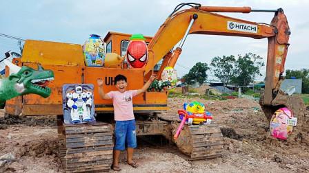 超意外!萌宝小正太在挖掘机旁找到哪些玩具?趣味玩具故事