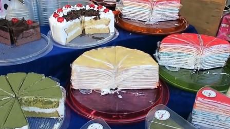 泰国街头自选蛋糕小摊,各种款式各种口味随意选,网友:想来一块