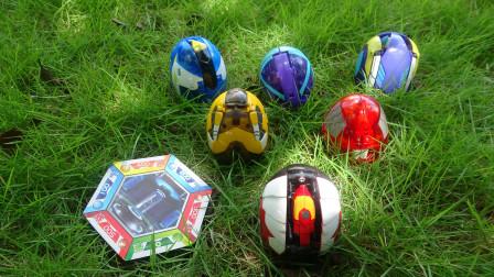 公园草地寻找玩具,发现爆兽猎人爆兽龙蛋,男孩变形玩具蛋