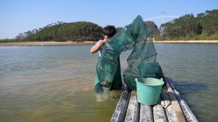 小伙推船去收地笼,连收几个上来心情顿时不好了,鱼儿都去哪了