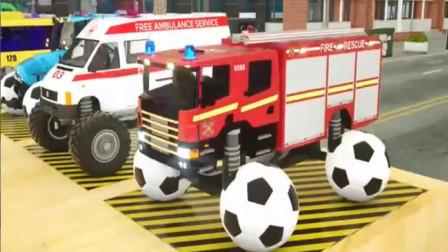 汽车玩具视频:罐车 消防车 校车 双层巴士 拖拉机开进颜料房染颜色