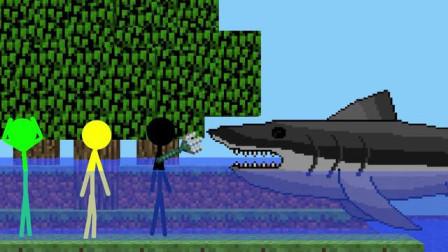 我的世界动画-火柴人学院-鲨鱼-Sticktoon