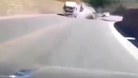 前车突发车祸,视频车主神反应,让自己成功躲过一劫!
