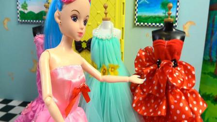 芭比娃娃梳妆打扮和帮孩子梳头编辫子,儿童益智,婴幼儿宝宝玩具过家家游戏视频H1219