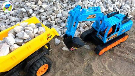 货车发现彩蛋,汽车工程车和挖掘机玩具填坑,婴幼儿宝宝玩具过家家游戏视频G704