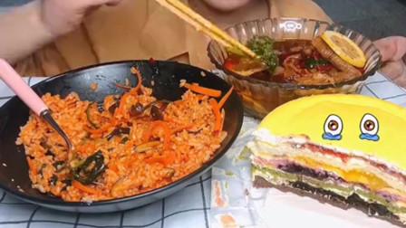 美食吃播:大胃王小姐姐吃柠檬西蓝花和无骨鸡翅,大口吃的真香!