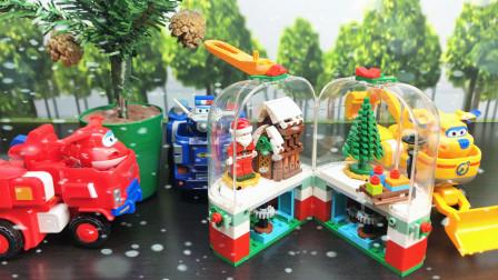 超级飞侠第7季搭建圣诞老人积木房玩具