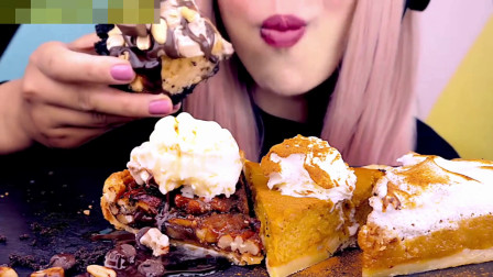 美女的甜点大餐,冰激凌蛋糕用勺子挖着吃,冰爽香甜好吃好滋味