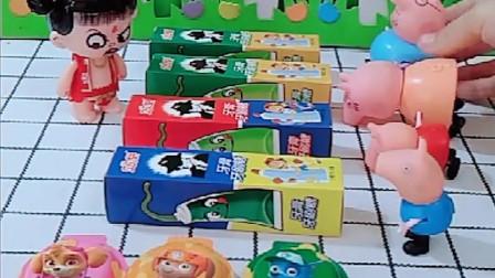 小猪乔治给爸爸妈妈姐姐买了很多糖果,还有给小朋友们的,乔治真好!
