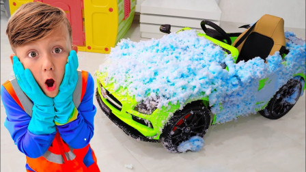 萌宝儿童玩具早教故事:小正太的玩具车怎么脏兮兮的?看完我就转发