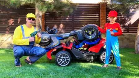 咋回事?萌宝小正太跟爸爸的汽车为何会撞在一起?趣味玩具故事
