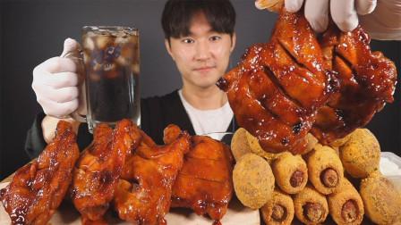 韩国小哥的玉米热狗,芝士球和炸鸡,吃播表演,热量超高,真香!