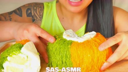 吃播微笑姐,试吃特色奶油水果蛋糕,大口大口吃得好开心啊!