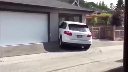 生猛的女司机,墙都拦不住她进去!要不是视频谁信