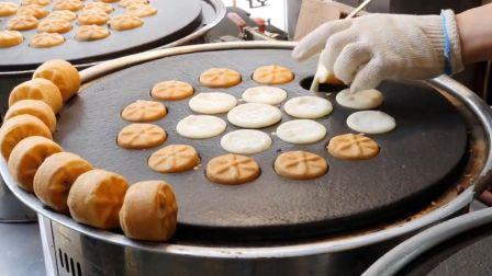 韩国街边小吃:3000韩元15个的豆沙馅菊花面包,便宜又好吃