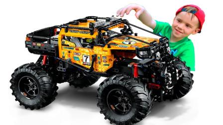 萌娃玩具乐园:萌娃动手组装乐高怪兽卡车