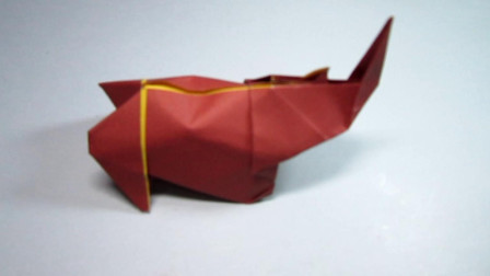 手工折纸,犀牛的折法,步骤详细简单易学