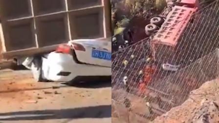 云南一重型货车侧翻压向2车致7死2伤 司机已被控制