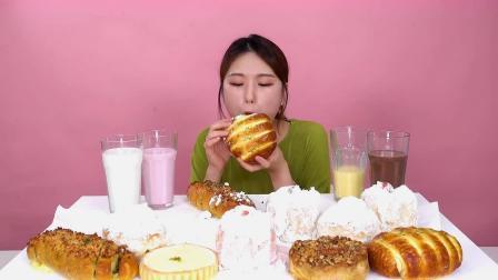 小姐姐吃各种小面包,大口吃奶油也太爽了吧