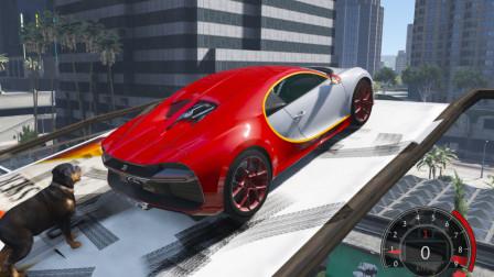 GTA5 发现四辆跑车,加速过斜坡能不能飞跃到对面屋顶
