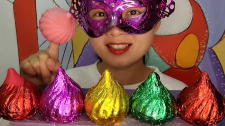 """妹子吃创意""""洋葱空心巧克力"""",尖头螺旋好可爱,香甜丝滑嘎嘣脆"""