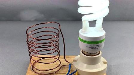 牛人制造自由能发电机,来点亮LED灯泡,这是真的吗?