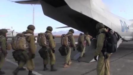 俄军太平洋舰队海军陆战队搭乘安-26运输机执行跳伞任务