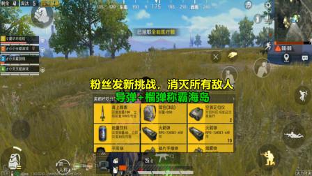 和平精英:粉丝发新任务,榴弹炮+跟踪导弹吃鸡,这下有点难!