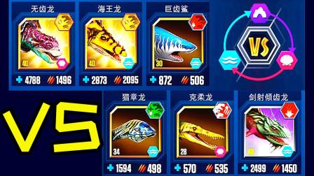 小鸢解说 1703无齿龙vs海王龙vs巨齿鲨,海洋霸主争夺战 侏罗纪世界★恐龙公园