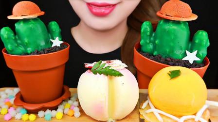 可爱的仙人掌花盆蛋糕,和橙子、水蜜桃水果蛋糕,每一款都萌化少女心