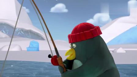企鹅憨兄弟:小企鹅在冰上钓鱼,大个子企鹅过来抢鱼竿