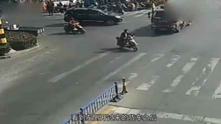 电动车闯红灯,明知有危险还非要抢那一秒,监控拍下作死全过程