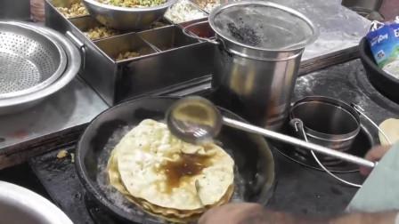 名的德里完美的美味早餐印度街边小吃