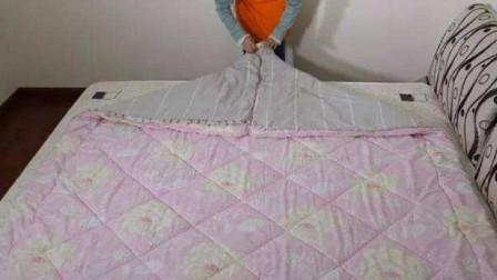 不用甩的套被方法,再厚的棉被也能一分钟搞定,家庭主妇都需要