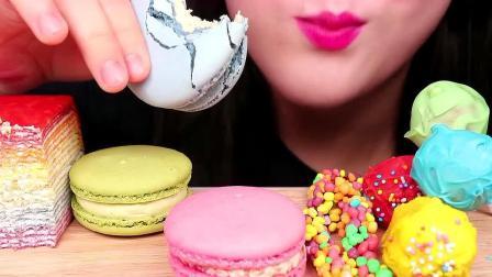 小姐姐今天吃的甜点颜值好高呀,马卡龙和彩虹千层蛋糕都很馋人啊