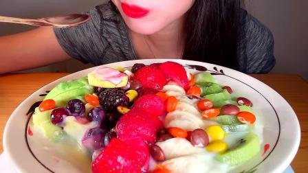 颜值很高的五彩水果酸奶沙拉,口感真的超级棒