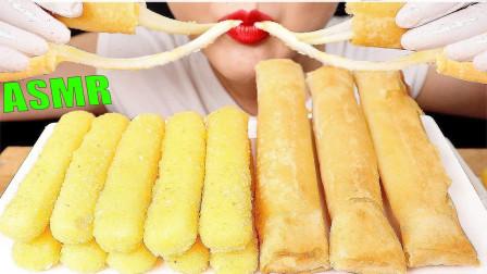 """韩国ASMR吃播:""""黄金芝士棒+奶酪棒"""",看着真诱人,吃得真过瘾"""