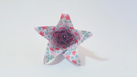 教你折纸五瓣百合花,漂亮美观,原来很简单