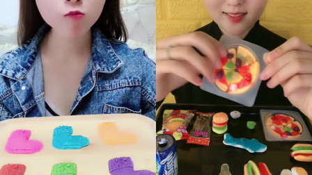 可爱吃货小姐姐创意吃播:巧克力制作的五彩小袜子、小披萨,好看又好吃都是孩子的最爱