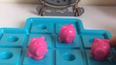 三只小猪在玩耍,突然大灰狼来了,就给三只小猪盖了房子