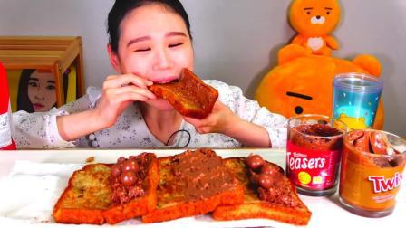 韩国大胃王卡妹,试吃特色吐司,抹上巧克力酱和奶油吃真过瘾!