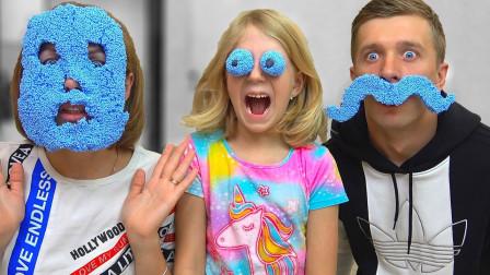 哇哦!萌宝小萝莉一家人用泡沫泥做出什么图案?趣味玩具故事
