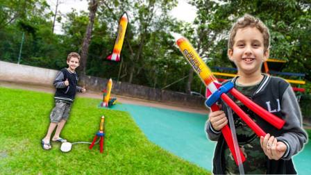 太好玩了!萌宝小正太带来的火箭是如何发射的?趣味玩具故事