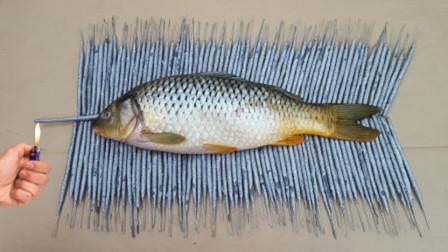 国外小伙挑战仙女棒烤鱼,在完全燃烧之后,鱼的味道怎么样?