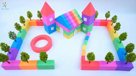 沙滩上的七彩房子 宝宝魔力太空沙手工制作玩具