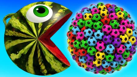 亲子早教动画西瓜吃豆小子吃足球组成的糖果
